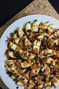 Loaded Apple Nachos via Begin With Nutrition #snackattack