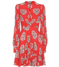 Red floral-printed jersey dress