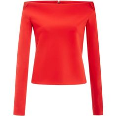 Zac Posen Bonded Crepe Top In Scarlet (£1,065) ❤ liked on Polyvore featuring tops, crepe top, red long sleeve top, off shoulder long sleeve top, off the shoulder long sleeve top and zac posen