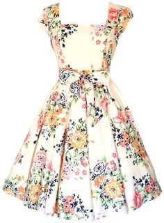 Soft Pink Floral Swing Dress - £45. Made in London.