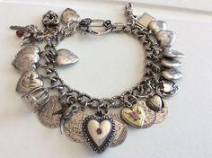 27 Antique Victorian S.Silver PUFFY HEART Charm Bracelet LOVE TOKENS Anna #Handmade