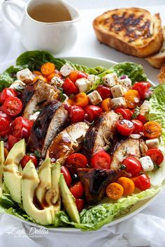 Grilled Balsamic Chicken and Avocado Bruschetta Salad | http://cafedelites.com Bruschetta Bread, Bruschetta Chicken Pasta, Lemon Quinoa, Caesar Salad, Feta Salad, Parsley Salad, Avocado Salad, Tomato Salad, Best Salad Recipes