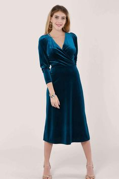 A line Wrap dress Midi length Long sleeve Puff sleeve Invisible zip Polyester Elastane Made in London Dusk To Dawn collection Machine wash or Dry clean Cool cycle Iron low heat Do not bleach Do not tumble dry Short Skater Dress, Wrap Dress Midi, Navy Tuxedos, Full Look, Teal Colors, Winter Wardrobe, Satin Dresses, Dress To Impress, Velvet