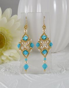 Woven Dangle Earrings Turquoise Crystal and Pearl by IndulgedGirl