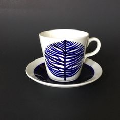 Rare Early Vintage Arabia Finland Coffee Cup Saucer Leaf Design ET