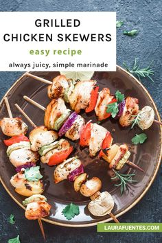 Grilled chicken kabobs that are never dry, always juicy. Tips and tricks perfect chicken every time! Veggie Kabobs, Grilled Chicken Skewers, Steak Kabobs, Yummy Chicken Recipes, Healthy Dinner Recipes, Real Food Recipes, Easy Family Dinners, Easy Meals, How To Cook Chicken
