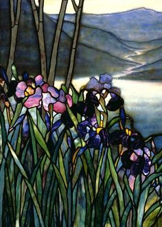 Magnolia and Irises, ca. 1908 Louis Comfort Tiffany (American, 1848–1933); Tiffany Studios Leaded Favrile glass