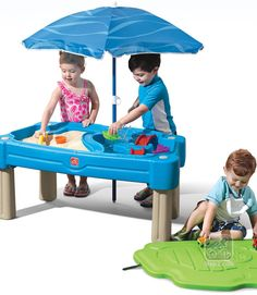 Kids can pretend they're on an island digging for buried treasure with the Step2 Cascading Cove Sand & Water Table! This brightly colored all-in-one activity table provides sensory play fun for all! Kiddos can build sand castles on one side and sail toy boats on the other. Includes a lid with molded-in roadways for an additional play surface.