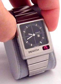 https://flic.kr/p/FUg33X | Vintage Zenith Futur Time Command Ana-Digi Quartz LED Wrist Watch, Black Dial, Circa 1975