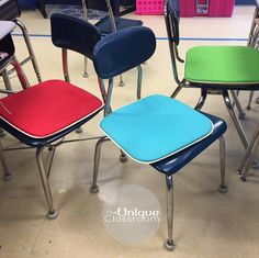 $3 seat cushions were a big hit! I saw these colorful cushions in the outdoor section at Walmart and on a whim decided to pick up a few to add to my flexible seating options. Students may take them around the room or keep them on their chairs. To add to the mystique I draw names of who may have them for the day although I haven't ruled out charging economy money for the opportunity!  #flexibleseating #happyclassrooms