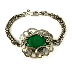 Wire Wrap Chainmaille Bracelet with Malachite stone by Hyppiechic, $57.00