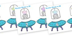 Twinkl Resources >> Number Bonds to 20 (Aliens and Spaceships)  >> Thousands of printable primary teaching resources for EYFS, KS1, KS2 and beyond! number bonds, space, spaceship, alien, space themed, counting to 20, adding to 10, bingo counting,