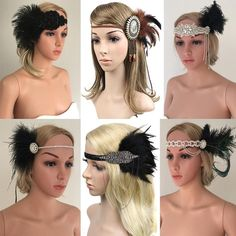 Feather headband is made of high quality feather, beads, veil, rhinestone and headband. Flapper Headpiece, Flapper Costume, Fascinator Headband, 20s Flapper, Flapper Hair, Great Gatsby Fancy Dress, Great Gatsby Party, 1920s Party Dresses, 1920s Outfits