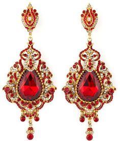 Jose & Maria Barrera Teardrop Chandelier Clip Earrings, Red $525.00 thestylecure.com