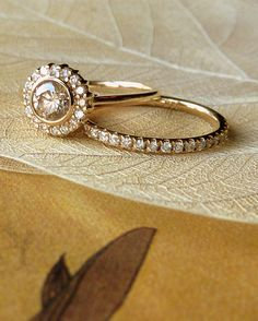 Yellow Gold Bezel Set Diamond Halo Ring, and matching band -via Etsy