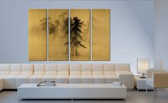 Ancient Japanese painting reproduction by CredoArt (and a comfy looking modern couch).