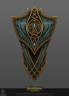 ArtStation - Pathfinder: Kingmaker, Vasiliy Vlasov Fantasy Armor, Fantasy Weapons, Medieval Fantasy, Magic Armor, Medieval Shields, Arte Robot, Armor Tattoo, Game Props, Pathfinder Rpg