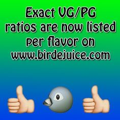Walter felt our 100% VG-Base was too ambiguous so we now list the exact VG/PG ratio for each flavor on birdejuice.com. While our base will always remain 100% VG the discrepancy between ratios comes from the different amounts of flavorings used amongst our lineup. Final ratios range from 80/20 to 95/5 and we're happy to be more transparent about that fact  #birdejuice #maxvg #theflock #cleanjuice #cloudchaser #vape #vaping #vapefam #vapeporn #instavape #ejuice #eliquid #vgpg