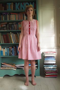 40% off right now! The 'Battenberg' Button Top Pleat Skirt Dress in Organic Cotton - Size Small. £90.00, via Etsy.