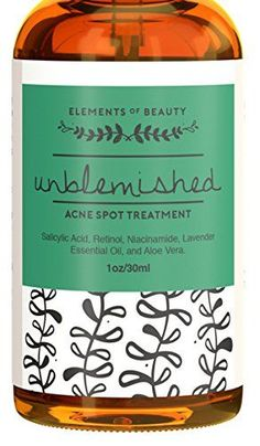 Unblemished Acne Spot Treatment by Elements of Beauty  Best Skin Care Acne Removal Treatment Reduce Blemishes  Natural Acne Treatment  Acne Cream  Salicylic Acid Retinol Niacinamide -- Learn more by visiting the image link.