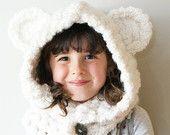 DIY Crochet PATTERN - Chunky Crochet Polar Bear Hood in Toddler, Child and Adult Sizes (hat019)