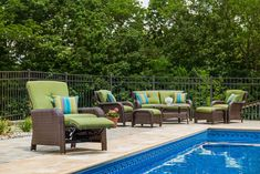 LaZBoy Outdoor Sawyer Resin Wicker Patio Furniture Recliner Cilantro Green With All Weather Sunbrella Cushions >>> Be sure to check out this awesome product. (This is an affiliate link) Resin Wicker Patio Furniture, Outdoor Furniture Sets, Outdoor Decor, Patio Loveseat, Sofa, Cilantro, Recliner, Lawn