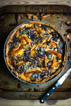 A tart recipe like this one is a good one to have up your sleeve. In it's most basic form it's essentially a quiche, a good pastry base with a savoury egg and Quiches, Blue Cheese Recipes, Vegetarian Recipes, Cooking Recipes, Vegetarian Quiche, Brunch, Roasted Squash, Strudel, Winter Food