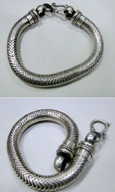 """Excited to share this item from my shop: Ethnic Silver Round Thick Heavy Snake Chain Men""""s bracelet Flexible Free S 12031 Silver Chain For Men, Gold Chains For Men, Diy Friendship Bracelets Patterns, Bracelet Patterns, 925 Silver Earrings, Sterling Silver Bracelets, Silver Jewelry, Vintage Jewelry, Mens Gold Bracelets"""