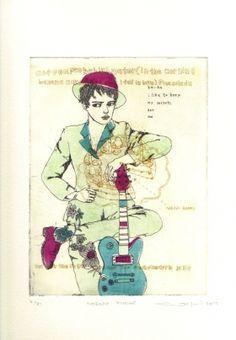 Atsuko Ishii Etching with copperplate Edition of 31 Printmaking, Random Stuff, Baseball Cards, Illustration, Artist, Artwork, Random Things, Work Of Art, Printing