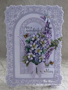 Hello everyone, card I made for A Mum.Mothers Day or A Birthday . I had to purchase this gorgeous collection of flower. Birthday Card Pop Up, Vintage Birthday Cards, Birthday Cards For Mum, Vintage Cards, Birthday Greetings, Happy Birthday, Tattered Lace Cards, Purple Cards, Spellbinders Cards