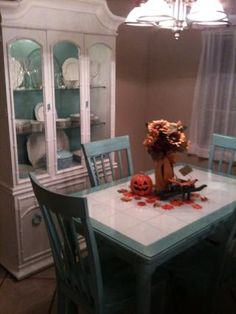 Tile top table makeover crafts crafts crafts pinterest tile turquoise and white tile kitchen table watchthetrailerfo