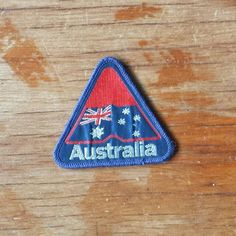 Vintage Australia Embroidered Triangle Patch. || Tags || Australian Australiana Day Flag Southern Cross 80s 90s 1980s 1990s retro