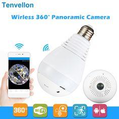 960 P 360 graus FishEye Câmera IP Sem Fio Lâmpada de Luz Inteligente início CCTV 3D VR Câmera 1.3MP Câmera de Segurança Em Casa Wi-fi panorâmica