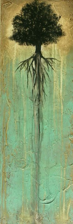 Abstract Tree Painting with Heavy Texture -- 12 x 36 -- Putting Down Roots -- by… More