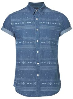 Blue Patterned Denim Short Sleeve Shirt - Topman
