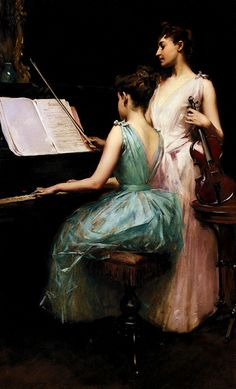 beautifuldavinci:    Irving Ramsey Wiles: the sonata  (April 8, 1861 - 1948) was an American artist.  Oil painting. 1889. 44 x 26 inches.