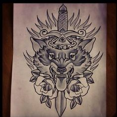 No flames in the back, change the roses to be less traditional, and change the wolf a little bit