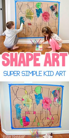 Shape Art Activity for Kids Looking for a quick and easy toddler / preschooler activity? Make this Shape Art activity from Busy Toddler. A super fun way to play with math and art. Babysitting Activities, Art Activities For Toddlers, Preschool Learning Activities, Fun Activities, Educational Activities, Art Projects For Toddlers, Art For Toddlers, Shapes For Toddlers, Preschool Shapes