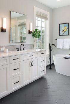 White Bathroom Cabinets, Bathroom Floor Tiles, Bathroom Fixtures, Ikea Bathroom, Bathroom With Gray Tile, Bathroom Tile Colors, Modern Bathroom, Black And White Bathroom Ideas, Black And White Bathroom Floor