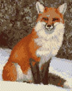 DIY Un renard au point de croix, superbe. (Embroidery Kit 415) (http://www.cross-stitch-pattern.net/Red-Fox-37-19-Free-Design.aspx)