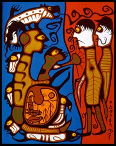 Norval Morrisseau- Land rights, Here's a good one to tie into the revised Ont. document in grade 5 for Inquiry Learning Pompidou Paris, Georges Pompidou, Native American Artists, Canadian Artists, Colorful Paintings, Paintings For Sale, Aboriginal Art For Sale, Woodlands School, Art Indien
