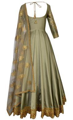 Light Olive Green Floor Length Indian Gowns, Indian Attire, Pakistani Dresses, Indian Wear, Indian Outfits, Salwar Designs, Blouse Designs, Anarkali Dress, Anarkali Suits