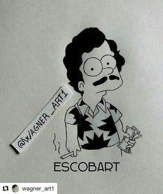 Pablo EscoBart   . . . #WagnerArt #Escobar #PabloEscobar #Narcos #Fox #TheSimpsons #Simpsons #Bart  #Draw #Drawing #Art #Fanart #Artist #Illustration #Design #sketch #doodle #tattoo #Arthelp #Anime #Manga #Otaku #Gamer #Nerdy #Nerd #Comic #Geek #Geeky