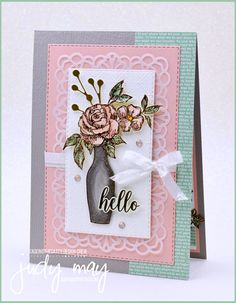 Stampin' Up! Fancy Phrases & Basket of Blooms Feminine Frienship Card - Judy May, Just Judy Designs, Melbourne Whole Image, Flower Center, Ink Pads, Small Flowers, My Stamp, Card Stock, Stampin Up, Card Making, Bloom
