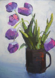 "Cup O' Tulips by Carol Schiff | $100 | 6""w x 8""h | Original Art | http://www.vangoart.co/carolschiffstudio/cup-o-tulips @VangoArt"