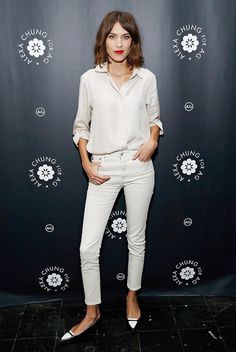 Alexa Chung in White Jeans