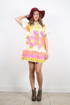 Vintage M L Boho Bright Pink Orange Yellow by ShopTwitchVintage, $34.99