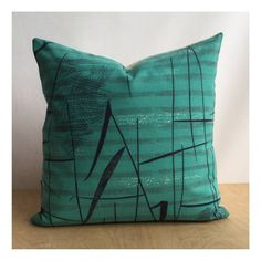 Teal Cushion Cover Original 50s Lucienne Day Tarn by Retro68