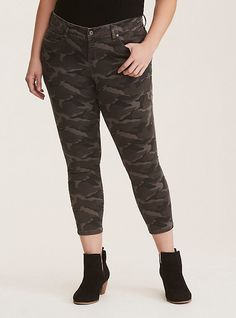8b049fa35aeb0 Plus Size Skinny Jean - Grey Camo Print Twill