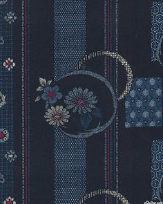 Japanese Import - Floating Flower Stripe - Indigo - COTTON DOBBY